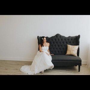 Cream strapless lace wedding dress
